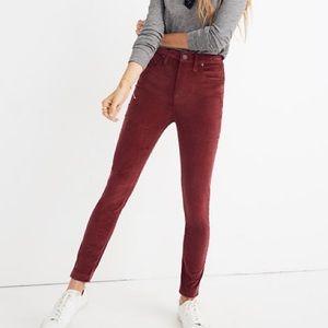 NWT Madewell High Rise Burgundy Velvet Skinny Jean